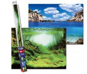 Akvarijní pozadí oboustranné rostliny/oceán 100x50cm