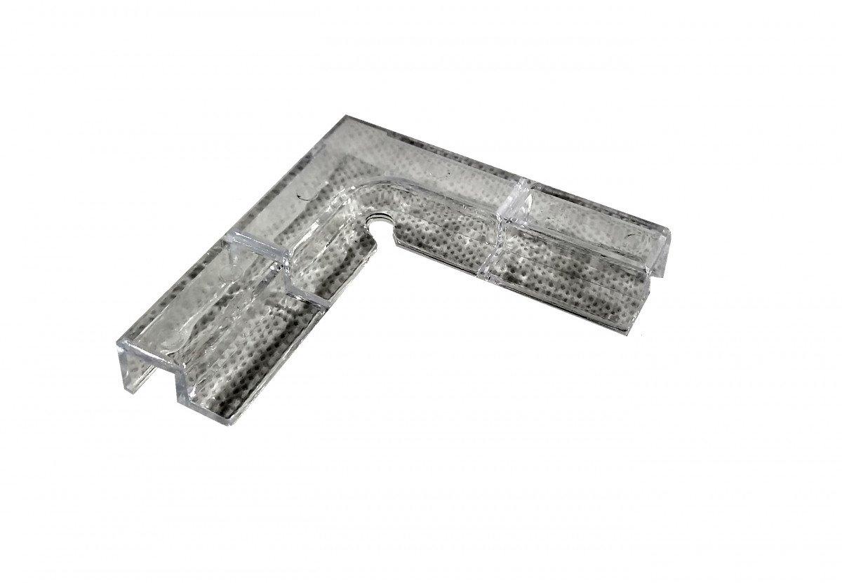 Rohový plastový držák na krycí sklo 8mm