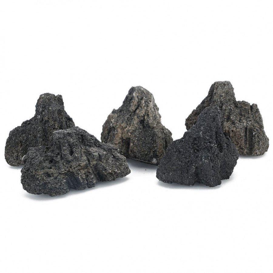 Černé lávové kameny L 35-50cm karton 20kg